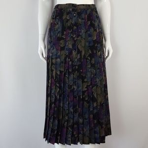 Vintage Black Floral Wool Button Front Midi Skirt